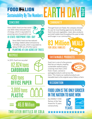 Food Lion's Sustainability Practices By the Numbers (Photo: Business Wire)