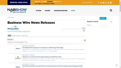 2016 NAB Show Exhibitor News, Online Press Kits and Digital Media Available on the 2016 NAB Show Show Site and Tradeshownews.com (Graphic: Business Wire)