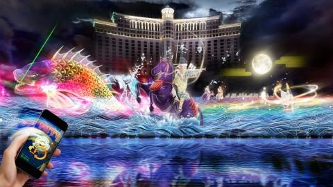 在贝拉吉奥的人工湖上进行的水幕数字秀(图示:美国商业资讯)
