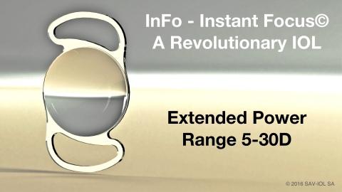 InFo - Instant Focus - A Revolutionary IOL - Extended Power Range 5-30D (© 2016 SAV-IOL SA)