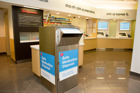 Walgreens safe medication disposal program launches in California allows individuals a safe and convenient way to dispose of unwanted, unused or expired medications at no cost. (Photo: Business Wire)