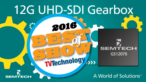 Semtech UHD-SDI Gearbox Wins NewBay Best of Show Award from TV Technology (Graphic: Business Wire)