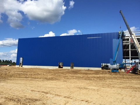Construction progresses on future IKEA Memphis as iconic blue exterior begins to transform store opening fall 2016 (Photo: Business Wire)