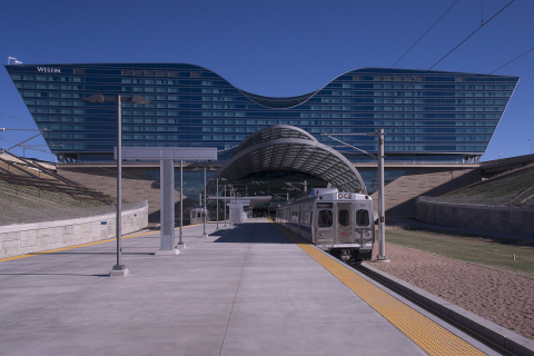 The 23-mile University of Colorado A Line from downtown Denver to Denver International Airport is now open. (Photo: Business Wire)