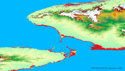Utilization image of AW3D(TM) for global scale disaster mitigation (damage prediction of giant tsunami) (Graphic: Business Wire)