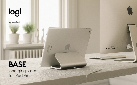 Logi BASE Charging Stand with Smart Connector for iPad Pro is the first charging stand that allows y ...