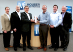 Global distributor Mouser Electronics has been named the 2015 On-Line Distributor of the Year by Lumileds, a global leader in light engine technology. Pictured left to right at the distributor's global headquarters are Lumileds and Mouser executives Kris Keuser, Adam Osmancevic, Lumileds' CEO Pierre-Yves Lesaicherre, Mouser President & CEO Glenn Smith, Eric Flodstrom and Jeff Newell. (Photo: Business Wire)