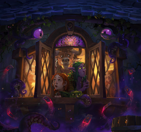 Tavern-goers beware: Whispers of the Old Gods has descended upon Hearthstone! (Graphic: Business Wir ...