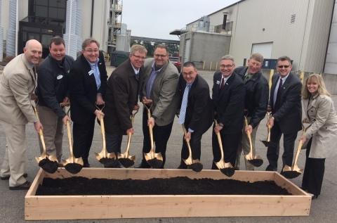 REG leaders along with state and local leaders broke ground on upgrades at REG Madison. Pictured from Left to Right: Brian Coker, Plant Manager, REG Madison; Guy Gryphan, Executive Director, DeForest Windsor Area Chamber of Commerce; Raymond Richie, Director, Strategic Planning & Analysis, REG; Jeff Lyon, Wisconsin Deputy Secretary of Agriculture, Trade and Consumer Protection; Daniel Oh, President & CEO, REG; Brad Albin, Vice President, Manufacturing, REG; Wisconsin State Representative Keith Ripp; Bruce Lutes, General Manager, REG Madison; Natalie Merrill, Chief of Staff & Vice President, REG. (Photo: Renewable Energy Group, Inc.)
