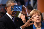 """President Obama views virtual reality with ifm's 3D camera at the Hannover Messe and proclaims, """"It's a brave new world."""" (Photo: Business Wire)"""