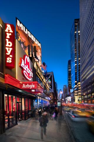 Arby's Manhattan restaurant. Photographer: John Haigwood, Haigwood Studios, Roswell, Georgia.