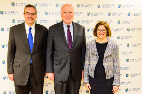 Champlain College President, Donald Laackman; Vermont Senator, Patrick Leahy; and OPM Acting Director, Beth Cobert (Photo: Business Wire)