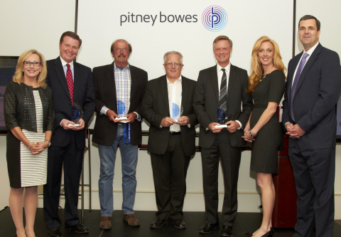 Pitney Bowes Announces Winners of 2016 Brilliance Awards. From left: Debbie Pfeiffer, president, Pitney Bowes Presort Services; Tom DeRosa, senior vice president, FIS Output Solutions; Pat Doyle, owner and president, Barton & Cooney; Paul Jorgensen, director of Output Services, HM Health Solutions; Ben Bomhoff, vice president of Enterprise Systems, Security First Insurance; Marissa Buckley, vice president of marketing, Security First Insurance; and Jason Dies, president, Pitney Bowes Document Messaging Technologies. (Photo: Business Wire)