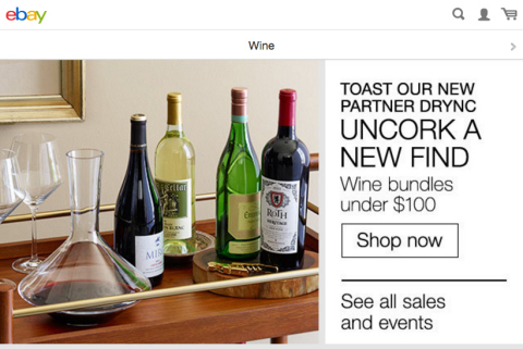 eBay's mobile app features the ability to browse and buy collectible, rare and everyday wines based on varietal, region, price point and more - enabling shoppers to find the perfect bottle while on-the-go. (Graphic: Business Wire)