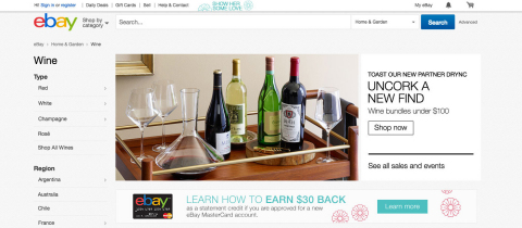 eBay's new dedicated wine experience at eBay.com/wine features the ability to browse collectible, rare and everyday wines based on variety, region, price point and more, and makes it easier than ever for experts and enthusiasts alike to find the perfect bottle of wine. (Graphic: Business Wire)
