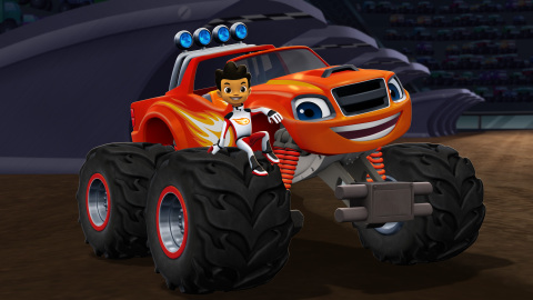 AJ and Blaze in BLAZE AND THE MONSTER MACHINES on Nickelodeon, the number one kids' program across all TV last quarter. (Graphic: Business Wire)
