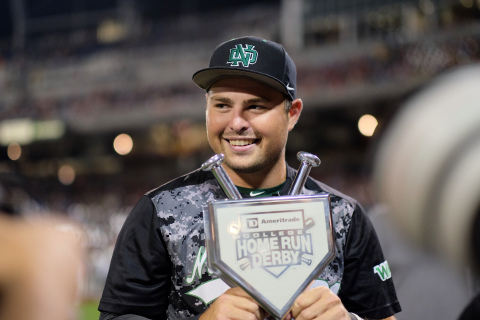 University of North Dakota's Jeff Campbell accepts the 2015 TD Ameritrade College Home Run Derby trophy. (Photo: TD Ameritrade)