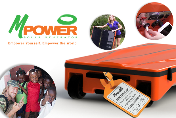 The Global Ambassador will deliver donated solar generators to families without electricity around the world. mPower Solar Generators charge during the day and store enough energy to provide light at night, while quietly charging devices and appliances for many hours.(Graphic: Business Wire)