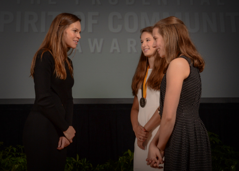 Academy Award-winning actress Hilary Swank congratulates Jenevia Wika, 16, of Anchorage (center) and Isabella Weiss, 14, of Palmer (right) on being named Alaska's top two youth volunteers for 2016 by The Prudential Spirit of Community Awards. Jenevia and Isabella were honored at a ceremony on Sunday, May 1 at the Smithsonian's National Museum of Natural History, where they each received a $1,000 award. (Photo: Zach Harrison Photography)