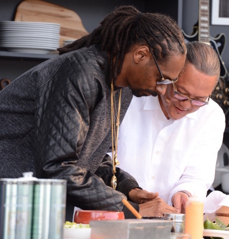 Snoop Dogg and Iron Chef Morimoto roll sushi on the BottleRock Culinary Stage in 2015 (Photo: Business Wire)