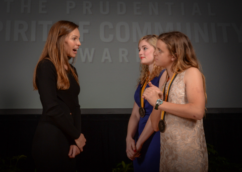 Academy Award-winning actress Hilary Swank congratulates Katelyn Bondhus, 18, of Hot Springs (center) and Shelby Dunphy-Day, 12, of Texarkana (right) on being named Arkansas's top two youth volunteers for 2016 by The Prudential Spirit of Community Awards. Katelyn and Shelby were honored at a ceremony on Sunday, May 1 at the Smithsonian's National Museum of Natural History, where they each received a $1,000 award. (Photo: Zach Harrison Photography)