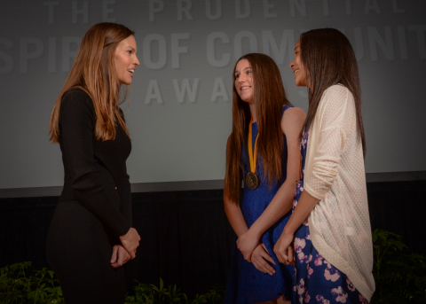 Academy Award-winning actress Hilary Swank congratulates Emmi Eisner, 16, of Encino (center) and Alyssa Simmons, 13, of Mission Viejo (right) on being named California's top two youth volunteers for 2016 by The Prudential Spirit of Community Awards. Emmi and Alyssa were honored at a ceremony on Sunday, May 1 at the Smithsonian's National Museum of Natural History, where they each received a $1,000 award. (Photo: Zach Harrison Photography)