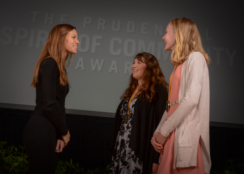 Academy Award-winning actress Hilary Swank congratulates Alexandra Minutillo, 16, of Madison (center) and Emily Christensen, 13, of Manchester (right) on being named Connecticut's top two youth volunteers for 2016 by The Prudential Spirit of Community Awards. Alexandra and Emily were honored at a ceremony on Sunday, May 1 at the Smithsonian's National Museum of Natural History, where they each received a $1,000 award. (Photo: Zach Harrison Photography)