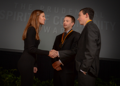 Academy Award-winning actress Hilary Swank congratulates Micah Freer, 18, of Wilmington (center) and Will Kenney, 14, of Delmar (right) on being named Delaware's top two youth volunteers for 2016 by The Prudential Spirit of Community Awards. Micah and Will were honored at a ceremony on Sunday, May 1 at the Smithsonian's National Museum of Natural History, where they each received a $1,000 award. (Photo: Zach Harrison Photography)