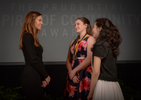 Academy Award-winning actress Hilary Swank congratulates Sydney Hamilton, 17, of Key West (center) and Kayla Abramowitz, 14, of North Palm Beach (right) on being named Florida's top two youth volunteers for 2016 by The Prudential Spirit of Community Awards. Sydney and Kayla were honored at a ceremony on Sunday, May 1 at the Smithsonian's National Museum of Natural History, where they each received a $1,000 award. (Photo: Zach Harrison Photography)