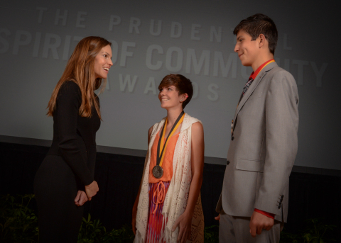 Academy Award-winning actress Hilary Swank congratulates Harlie Sorrell, 18, of Parma (center) and Tracen Mangum, 14, of Blackfoot (right) on being named Idaho's top two youth volunteers for 2016 by The Prudential Spirit of Community Awards. Harlie and Tracen were honored at a ceremony on Sunday, May 1 at the Smithsonian's National Museum of Natural History, where they each received a $1,000 award. (Photo: Zach Harrison Photography)