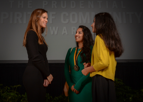Academy Award-winning actress Hilary Swank congratulates Kamna Gupta, 18, of Carmel (center) and Esha Mishra, 14, of Schererville (right) on being named Indiana's top two youth volunteers for 2016 by The Prudential Spirit of Community Awards. Kamna and Esha were honored at a ceremony on Sunday, May 1 at the Smithsonian's National Museum of Natural History, where they each received a $1,000 award. (Photo: Zach Harrison Photography)