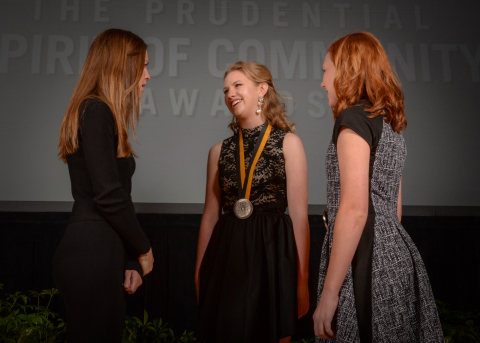 Academy Award-winning actress Hilary Swank congratulates Lauren Browning, 18, of Overland Park (center) and Cooper Lohman, 13, of Manhattan (right) on being named Kansas's top two youth volunteers for 2016 by The Prudential Spirit of Community Awards. Lauren and Cooper were honored at a ceremony on Sunday, May 1 at the Smithsonian's National Museum of Natural History, where they each received a $1,000 award. (Photo: Zach Harrison Photography)