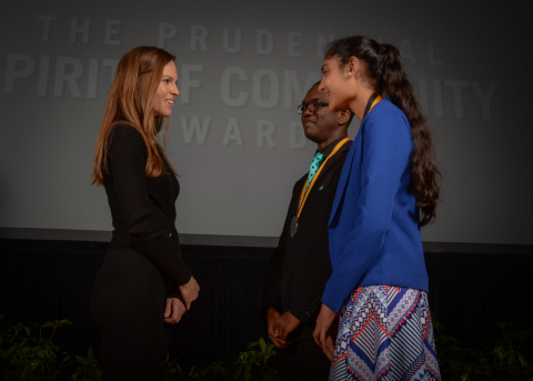 Academy Award-winning actress Hilary Swank congratulates Stanley Celestine, 17, of Cottonport (center) and Ashini Modi, 12, of Shreveport (right) on being named Louisiana's top two youth volunteers for 2016 by The Prudential Spirit of Community Awards. Stanley and Ashini were honored at a ceremony on Sunday, May 1 at the Smithsonian's National Museum of Natural History, where they each received a $1,000 award. (Photo: Zach Harrison Photography)