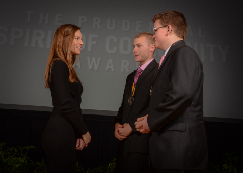 Academy Award-winning actress Hilary Swank congratulates Connor Archer, 18, of Stillwater (center) and Benjamin Levesque, 14, of Lyman (right) on being named Maine's top two youth volunteers for 2016 by The Prudential Spirit of Community Awards. Connor and Benjamin were honored at a ceremony on Sunday, May 1 at the Smithsonian's National Museum of Natural History, where they each received a $1,000 award. (Photo: Zach Harrison Photography)