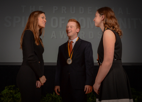 Academy Award-winning actress Hilary Swank congratulates Luke Pitsenbarger, 18, of Salisbury (center) and Alyssa Gerhart, 13, of Waldorf (right) on being named Maryland's top two youth volunteers for 2016 by The Prudential Spirit of Community Awards. Luke and Alyssa were honored at a ceremony on Sunday, May 1 at the Smithsonian's National Museum of Natural History, where they each received a $1,000 award. (Photo: Zach Harrison Photography)