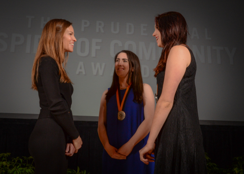 Academy Award-winning actress Hilary Swank congratulates Katie Curran, 18, of Pocasset (center) and Lauren Eppinger, 14, of Grafton (right) on being named Massachusetts's top two youth volunteers for 2016 by The Prudential Spirit of Community Awards. Katie and Lauren were honored at a ceremony on Sunday, May 1 at the Smithsonian's National Museum of Natural History, where they each received a $1,000 award. (Photo: Zach Harrison Photography)