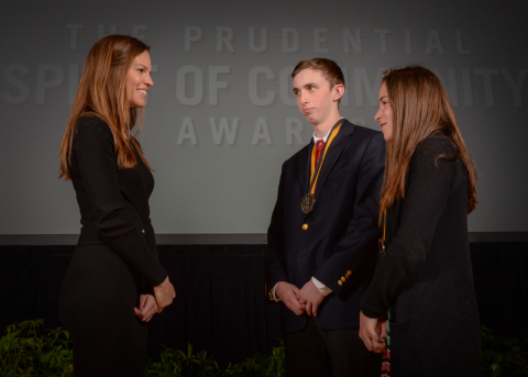 Academy Award-winning actress Hilary Swank congratulates Dale (Trip) Apley, 16, of Ann Arbor (center) and Aubrey Cohoon, 12, of Spring Lake (right) on being named Michigan's top two youth volunteers for 2016 by The Prudential Spirit of Community Awards. Trip and Aubrey were honored at a ceremony on Sunday, May 1 at the Smithsonian's National Museum of Natural History, where they each received a $1,000 award. (Photo: Zach Harrison Photography)