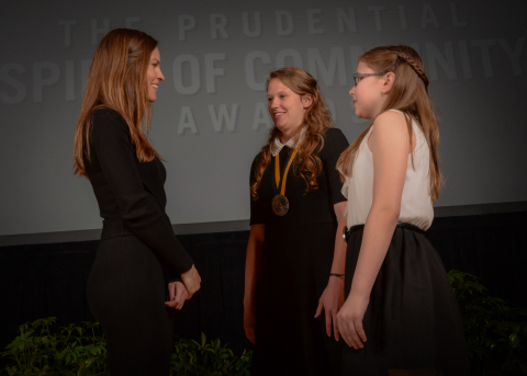 Academy Award-winning actress Hilary Swank congratulates Brooke Hale, 18, of Forsyth (center) and Kera Mingus, 12, of Kirbyville (right) on being named Missouri's top two youth volunteers for 2016 by The Prudential Spirit of Community Awards. Brooke and Kera were honored at a ceremony on Sunday, May 1 at the Smithsonian's National Museum of Natural History, where they each received a $1,000 award. (Photo: Zach Harrison Photography)