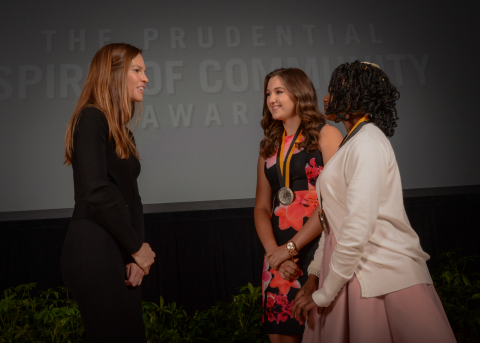 Academy Award-winning actress Hilary Swank congratulates Lindsey Meyer, 17, of Pass Christian (center) and Jameshia Attaway, 12, of Indianola (right) on being named Mississippi's top two youth volunteers for 2016 by The Prudential Spirit of Community Awards. Lindsey and Jameshia were honored at a ceremony on Sunday, May 1 at the Smithsonian's National Museum of Natural History, where they each received a $1,000 award. (Photo: Zach Harrison Photography)