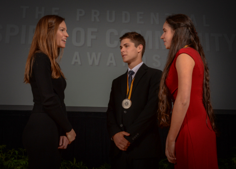 Academy Award-winning actress Hilary Swank congratulates Nathanael Jourdonnais, 18, of Missoula (center) and Berkley Stroh, 14, of Roy (right) on being named Montana's top two youth volunteers for 2016 by The Prudential Spirit of Community Awards. Nathanael and Berkley were honored at a ceremony on Sunday, May 1 at the Smithsonian's National Museum of Natural History, where they each received a $1,000 award. (Photo: Zach Harrison Photography)