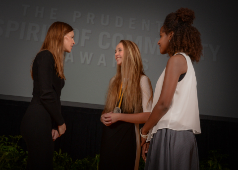 Academy Award-winning actress Hilary Swank congratulates Grace Anderson, 16, of Devils Tower (center) and Selah Jordan, 14, of Gillette (right) on being named Wyoming's top two youth volunteers for 2016 by The Prudential Spirit of Community Awards. Grace and Selah were honored at a ceremony on Sunday, May 1 at the Smithsonian's National Museum of Natural History, where they each received a $1,000 award. (Photo: Zach Harrison Photography)