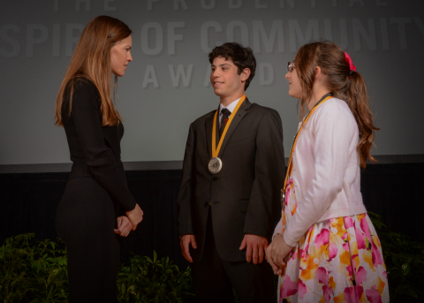 Academy Award-winning actress Hilary Swank congratulates Zachary Librizzi, 18, of Warwick (center) and Sarah Coutu, 12, of Pawtucket (right) on being named Rhode Island's top two youth volunteers for 2016 by The Prudential Spirit of Community Awards. Zachary and Sarah were honored at a ceremony on Sunday, May 1 at the Smithsonian's National Museum of Natural History, where they each received a $1,000 award. (Photo: Zach Harrison Photography)