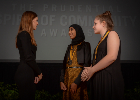 Academy Award-winning actress Hilary Swank congratulates Kiran Waqar, 16, of South Burlington (center) and Miranda Walbridge, 13, of Barre (right) on being named Vermont's top two youth volunteers for 2016 by The Prudential Spirit of Community Awards. Kiran and Miranda were honored at a ceremony on Sunday, May 1 at the Smithsonian's National Museum of Natural History, where they each received a $1,000 award. (Photo: Zach Harrison Photography)
