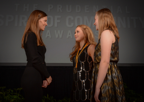 Academy Award-winning actress Hilary Swank congratulates Shelby Specht, 15, of Sioux Falls (center) and Danika Gordon, 14, of Whitewood (right) on being named South Dakota's top two youth volunteers for 2016 by The Prudential Spirit of Community Awards. Shelby and Danika were honored at a ceremony on Sunday, May 1 at the Smithsonian's National Museum of Natural History, where they each received a $1,000 award. (Photo: Zach Harrison Photography)