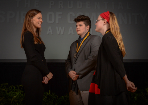Academy Award-winning actress Hilary Swank congratulates Colin Harding, 18, of Pittsburgh (center) and Grace Preston, 11, of Brockway (right) on being named Pennsylvania's top two youth volunteers for 2016 by The Prudential Spirit of Community Awards. Colin and Grace were honored at a ceremony on Sunday, May 1 at the Smithsonian's National Museum of Natural History, where they each received a $1,000 award. (Photo: Zach Harrison Photography)