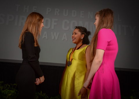 Academy Award-winning actress Hilary Swank congratulates My'Kah Knowlin, 15, of Lincoln (center) and Golden Kelly, 13, of Omaha (right) on being named Nebraska's top two youth volunteers for 2016 by The Prudential Spirit of Community Awards. My'Kah and Golden were honored at a ceremony on Sunday, May 1 at the Smithsonian's National Museum of Natural History, where they each received a $1,000 award. (Photo: Zach Harrison Photography)