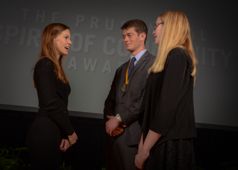Academy Award-winning actress Hilary Swank congratulates Barry Donakey, 18, of Orem (center) and Sophia Goodwin, 14, of Draper (right) on being named Utah's top two youth volunteers for 2016 by The Prudential Spirit of Community Awards. Barry and Sophia were honored at a ceremony on Sunday, May 1 at the Smithsonian's National Museum of Natural History, where they each received a $1,000 award. (Photo: Zach Harrison Photography)