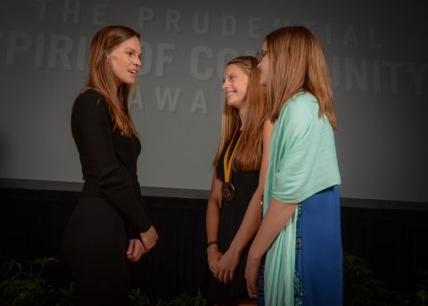 Academy Award-winning actress Hilary Swank congratulates Ariana Luterman, 16, of Dallas (center) and Courtney Janecka, 12, of Woodway (right) on being named Texas's top two youth volunteers for 2016 by The Prudential Spirit of Community Awards. Ariana and Courtney were honored at a ceremony on Sunday, May 1 at the Smithsonian's National Museum of Natural History, where they each received a $1,000 award. (Photo: Zach Harrison Photography)