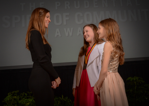 Academy Award-winning actress Hilary Swank congratulates Emma Williams, 17, of Merrimack (center) and Caitlin Shapleigh, 12, of Londonderry (right) on being named New Hampshire's top two youth volunteers for 2016 by The Prudential Spirit of Community Awards. Emma and Caitlin were honored at a ceremony on Sunday, May 1 at the Smithsonian's National Museum of Natural History, where they each received a $1,000 award. (Photo: Zach Harrison Photography)