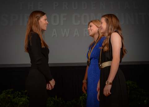 Academy Award-winning actress Hilary Swank congratulates Karigan McCurry, 18, of Gastonia (center) and Abbigail Adler, 14, of Greenville (right) on being named North Carolina's top two youth volunteers for 2016 by The Prudential Spirit of Community Awards. Karigan and Abbigail were honored at a ceremony on Sunday, May 1 at the Smithsonian's National Museum of Natural History, where they each received a $1,000 award. (Photo: Zach Harrison Photography)